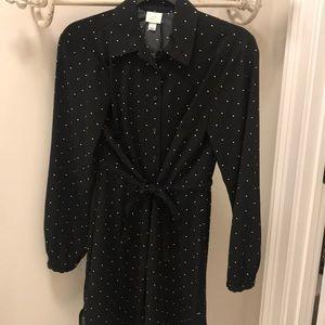 Black and white polka dot cinched waist tie dress